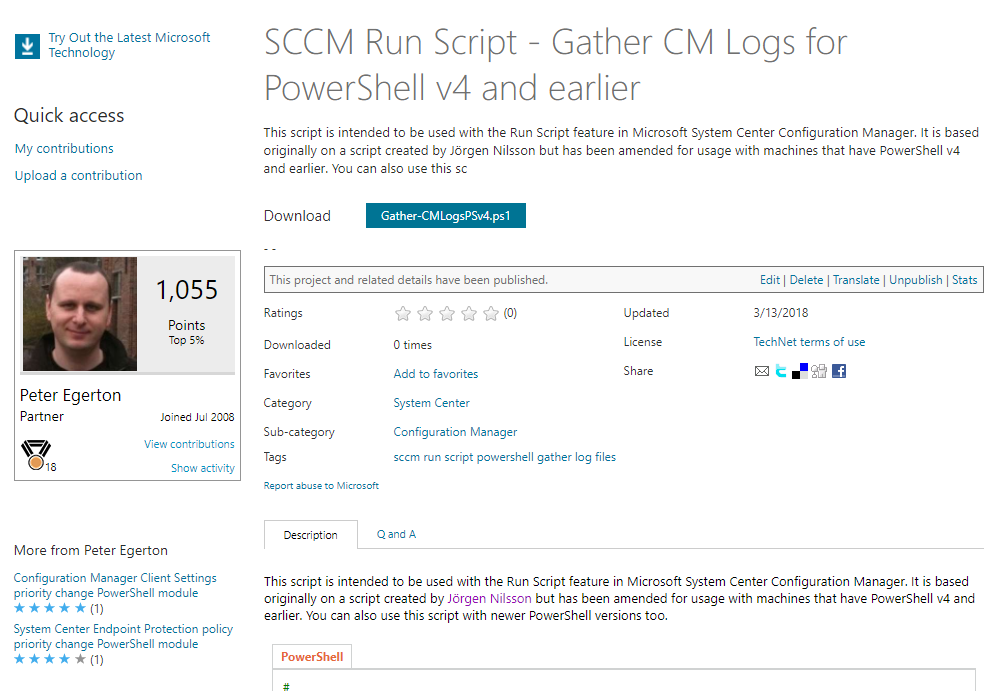 SCCM Run Script – Gather SCCM Log files for PowerShell v4