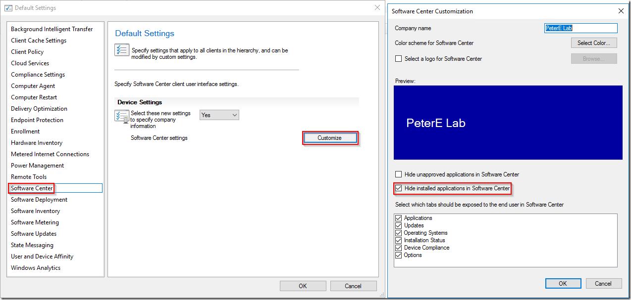 Improvements to SCCM Software Center–Tech Preview 1802