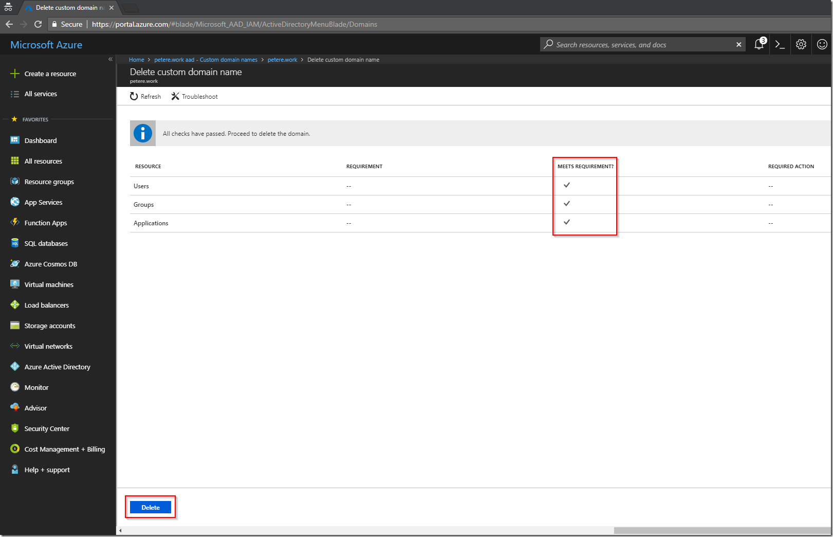 Delete a Custom Azure AD Domain   More than patches