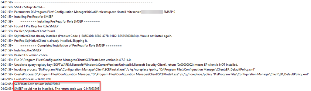 ConfigMgr Endpoint Protection Point Failure–0x80070643 or
