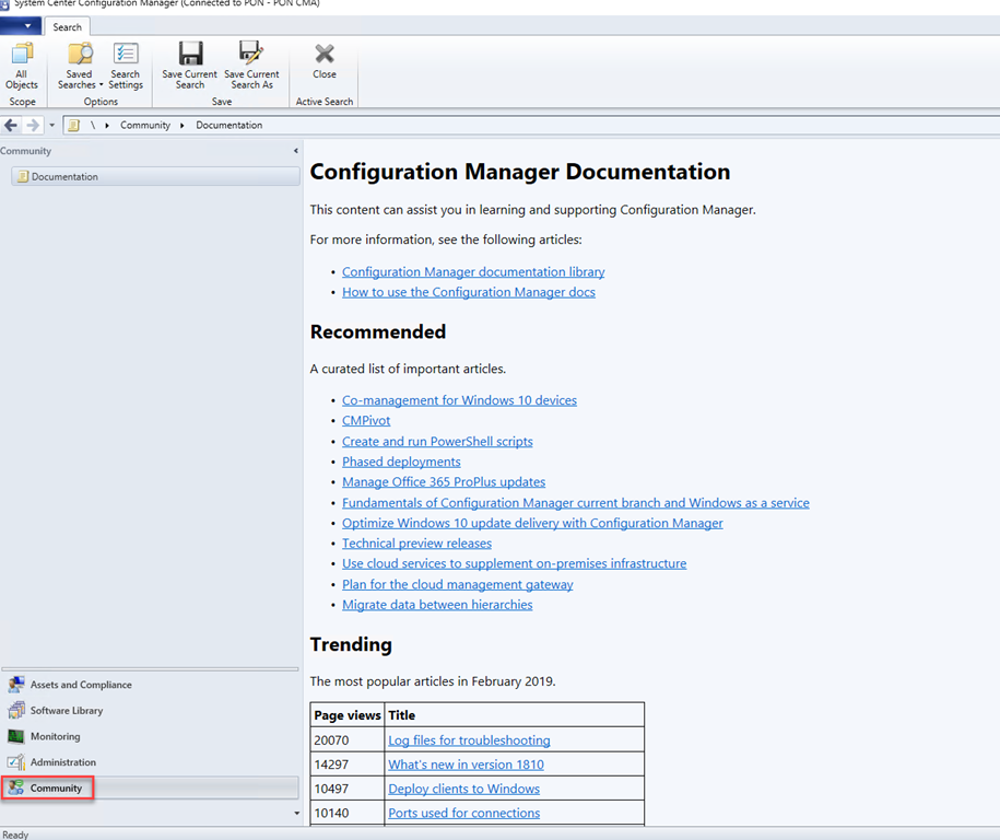Configuration Manager 1902–Configuration Manager Console